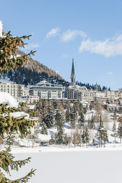 St. Moritz, Dorf, Alpen, St. Moritzersee, Alpen, Winter, Schweiz