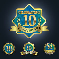 Celebrating 10 Years Anniversary - Blue seal with golden ribbon