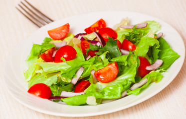 fresh salad with cherry tomatoes
