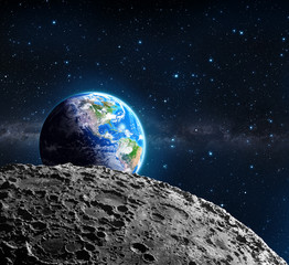 Views of Earth from the moon surface - Usa and galaxy