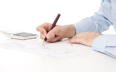 Image of male hand pointing at business document