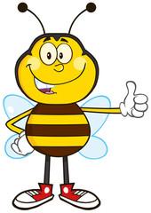 Smiling Bee Cartoon Mascot Character Showing Thumb Up
