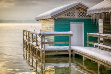 winter lake huts
