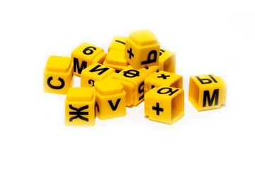 children's educational yellow cubes with letters