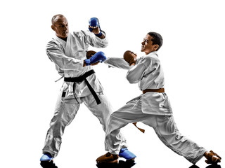 karate men teenager student fighters fighting protections