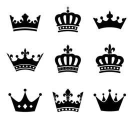 Collection of crown silhouette symbols