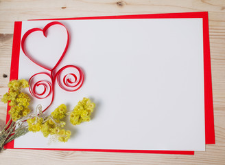 Fototapeta Greeting card with a red heart and space for text on a wooden ba obraz