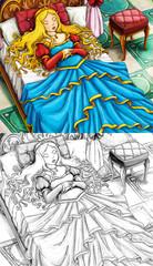 Cartoon fairy tale scene - coloring page
