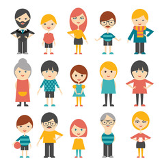 Set of flat people. Vector.