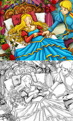 Cartoon fairy tale illustration prince and princess