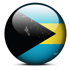 Map on flag button of Commonwealth of The Bahamas