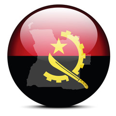 Illustration of  Map on flag button of Republic of Angola