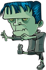 Cartoon frankenstein marching forward