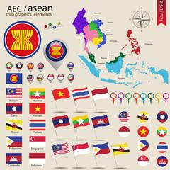 Infographic elements for AEC concept, ASEAN Economic community