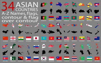34 Asian Countries vector