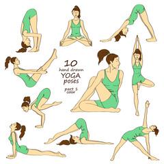 Set of isolated yoga poses