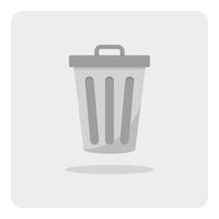 Vector of flat icon, trashcan on isolated background