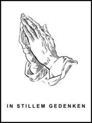 Trauerkarte mit betenden Händen, handgezeichnet, Hochformat