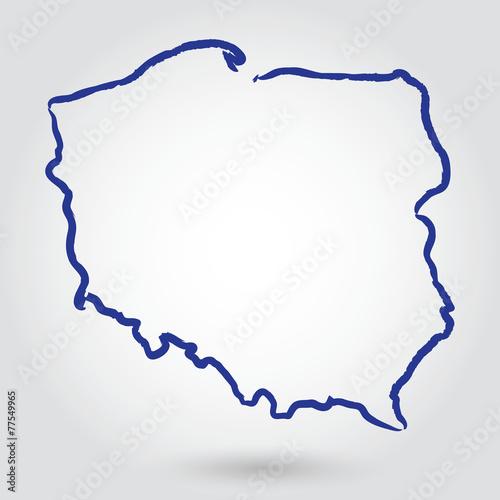 Mapa Konturowa Polski Polska Obrazów Stockowych I Plików