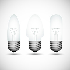 Set of incandescent bulbs on the gray background