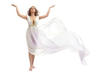 Classical Greek Goddess in Tunic Raising Arms