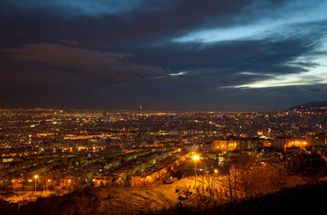 Illuminated City of Tehran from Above after Sunset