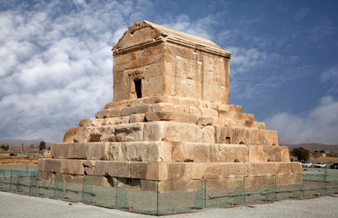 Tomb of Cyrus the Great in Pasargad against Blue Sky