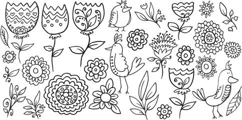 Flower Bird Doodle Vector Illustration Set