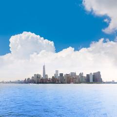 Manhattan New York skyline from NY bay US