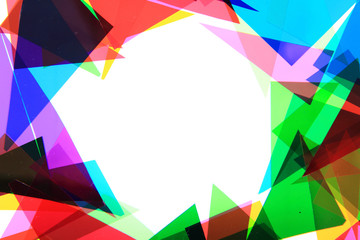 color plastic triangles background