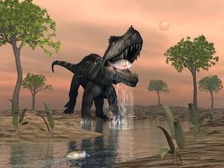 Prestosuchus dinosaur fishing - 3D render