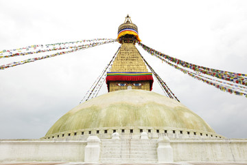 Prayer flags and main shrine of the Swayambhunath Stupa