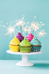 Wall Mural - Cupcakes with sparklers