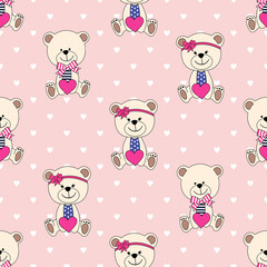 Seamless pattern with Bear for  Valentine's Day