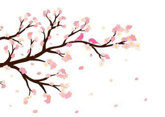 Vector illustration of blossom tree branch
