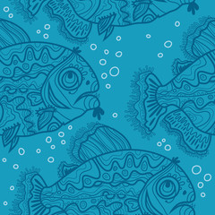 Blue pattern with ornamental fish and air bubbles