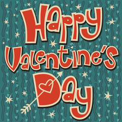 Card Happy Valentine's Day with heart and arrow