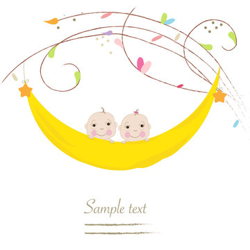 Newborn twin baby greeting card