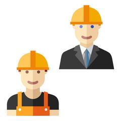 worker construction flat avatar set