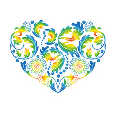 Multicolored Floral Heart on White Background, vector illustrati