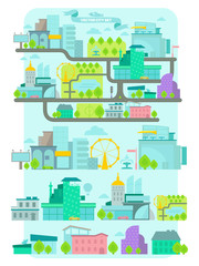 Modern city, vector set.