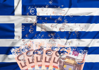 50 euro banknote dissolving as a concept of economic crisis in g