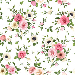 Seamless pattern with roses, lisianthus and anemone flowers.