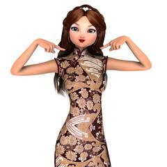 チャイナドレスの女性