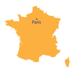 yellow map of France
