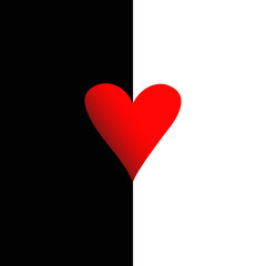 red heart on black and white background