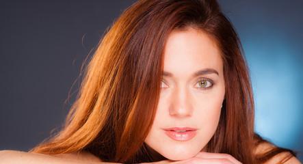 Vibrant Intimate Portrait Head Shot Attractive Female Redhead