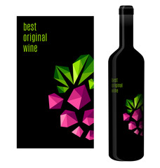 Wine label with bunch of grapes