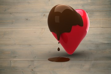 Wall Mural - Composite image of heart dipped in chocolate