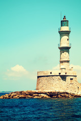 Lighthouse and sea in Chania Crete, impressions of Greece